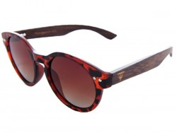 Polarized Wood Sunglasses - Red Turtle