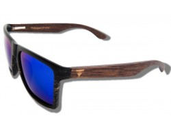 Polarized Wood Sunglasses - Blue Mamba