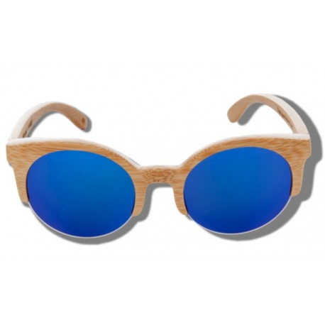 Polarized Wood Sunglasses - Blue Lynx