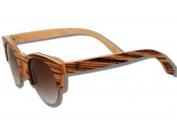Polarized Wood Sunglasses - Zebra