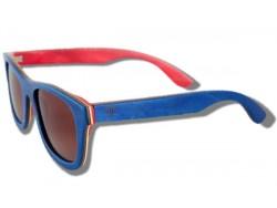 Polarized Wooden Sunglasses - Blue Chameleon