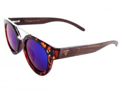 Polarized Wood Sunglasses - Blue Blowfish