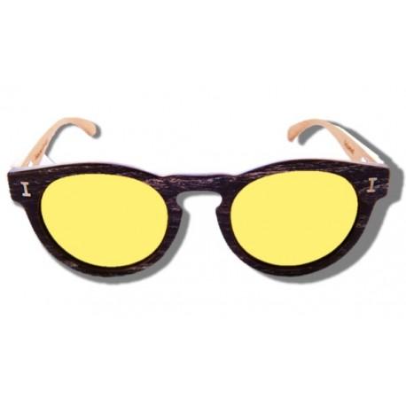 Polarized Wood Sunglasses - Yellow Caiman