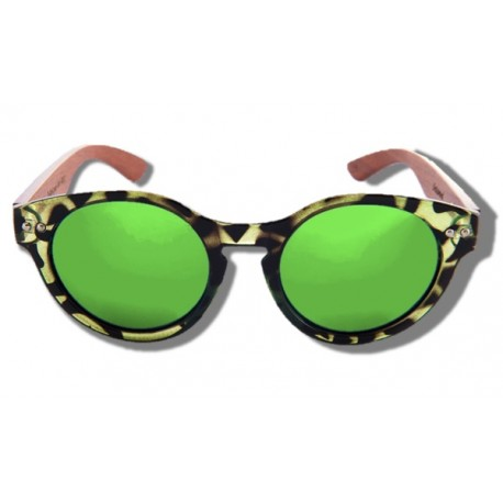 Polarized Wood Sunglasses - Green Turtle