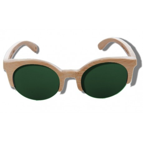 Polarized Wood Sunglasses - Green Lynx