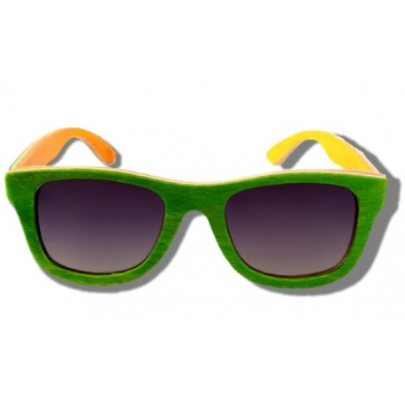 Polarized Wooden Sunglasses - Green Chameleon