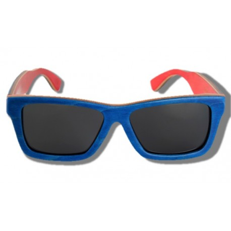 Polarized Wooden Sunglasses - Blue Arrow Frog